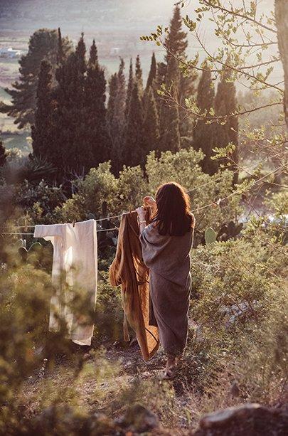 Woman in kimono doing laundry